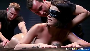 Oiled and blindfolded gal gets nailed