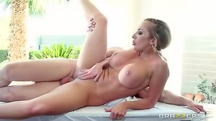 Busty woman gets fucked hard outdoors