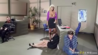 Curvy blonde slut fucked in the office
