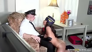 Naughty stewardess enjoys in hot banging