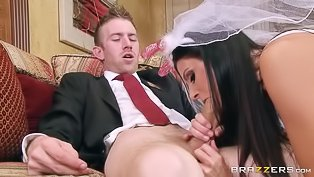 Slutty brunette bride screws a man