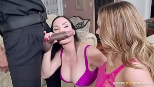 Two horny bitches sharing a BBC