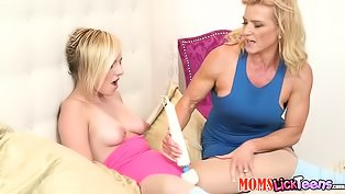 Horny stepmom screws a hot teen