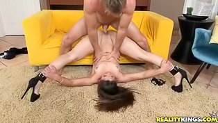 Long haired brunette MILF gets nailed