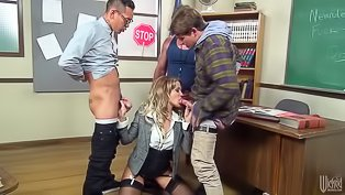 Wild teacher gets drilled hard