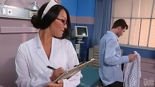 Horny hunk fucks a slutty nurse