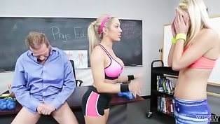 Two slutty girls fucked by their teacher