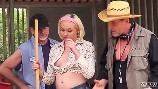 Farmer slut sucks three dicks