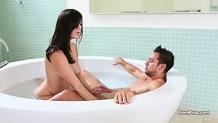 Petite brunette fucked by a hunk