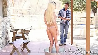 Big-tittied blonde gets punished wildly