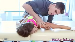 Masseur is fucking slutty brunette hard