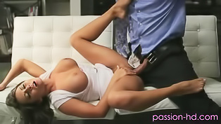 Brunette in white gets punished