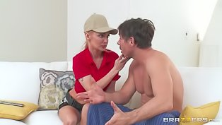 Blonde in shoes gets banged hard
