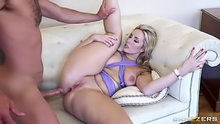 Thick blonde rides and fucks