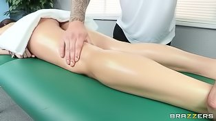 Fucking wildly with her masseur