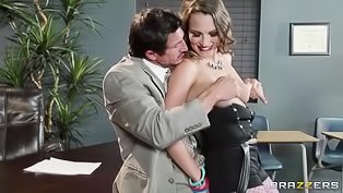 Brunette in purple fishnet gets fucked