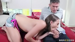 Big booty brunette cheats with a DILF