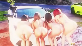 Four carwashing sluts sharing a dick