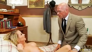 Bald man is banging the busty blonde