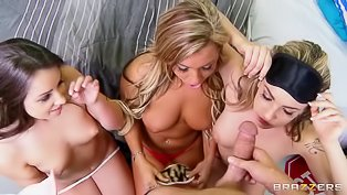 Horny nerd fucks three slutty bitches