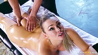 Oiled lady is being fucked so hard