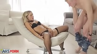 Beautiful teen gets fucked in a chair