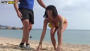 Big-tittied woman gets banged outdoors