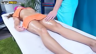 Massaging and drilling oiled woman
