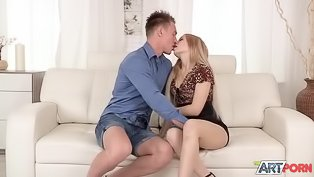 Cute girl in black skirt gets fucked