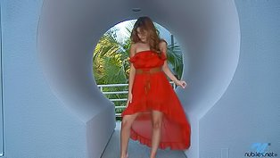 Girl in red dress is touching herself
