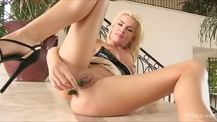 Yummy blonde is torturing her cunt