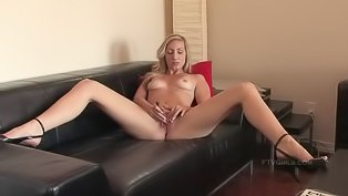 Sensual blonde is dildoing her holes