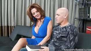 Bald man is fucking busty MILF deep