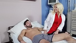 Horny blonde nurse receives a big dick