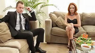 Ginger babe loves riding strong cock