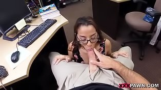 Slutty chick gets banged in office