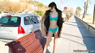 Hot brunette gets banged in the car