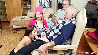 Older man is fucking two slutty chicks