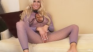 Lady in purple fishnet is enjoying solo