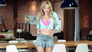 Blonde wearing skirt is enjoying solo