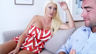 Big-tittied blonde loves hardcore sex