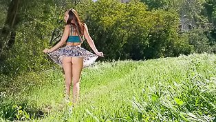 Girl is having sweet solo outdoors
