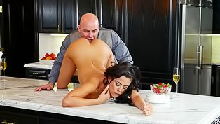 Bald man is banging the busty brunette
