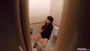 Sweetie rides dick in public toilet