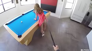 Hot chick loves playing billiards