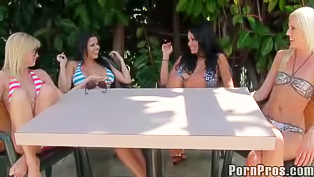 Tanned girls are having orgy outdoors