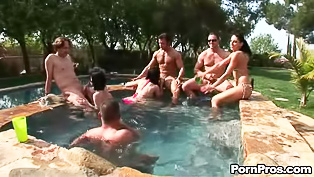 Awesome orgy in the small pool