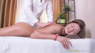 Lovely babe gets fucked by masseur