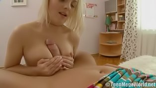 Sweet blonde is eating jizz wildly