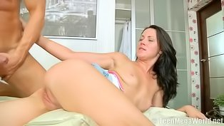 Filthy brunette gets punished gently